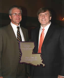 the 2007 Louisiana Family Physician of the Year being presented by Dr. Gravois to Dr. Fleming at the Annual Assembly in New Orleans on June 23, 2007